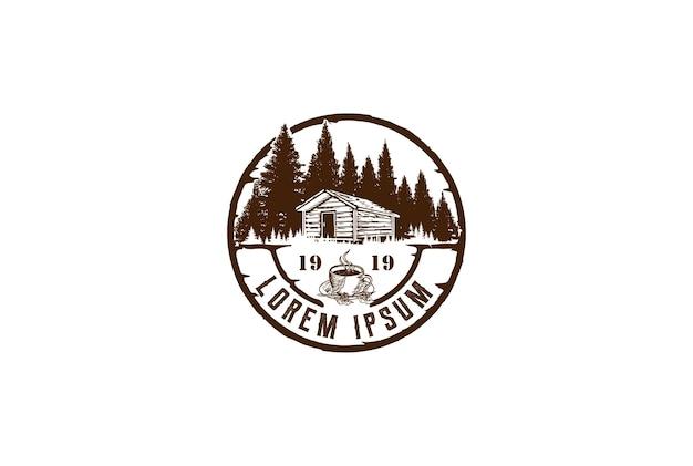 Floresta de pinheiros circulares retrô vintage com chalé de cabana de celeiro e vetor de design de logotipo de café