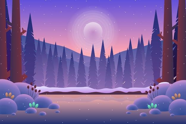 Floresta de pinheiros de cenário com ilustração de montanha e céu roxo