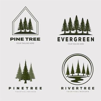 Floresta de pinheiros definir logotipo ilustração vetorial design