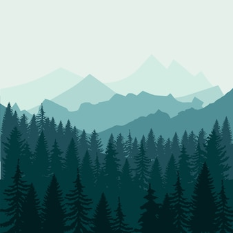 Floresta de pinheiros e montanhas