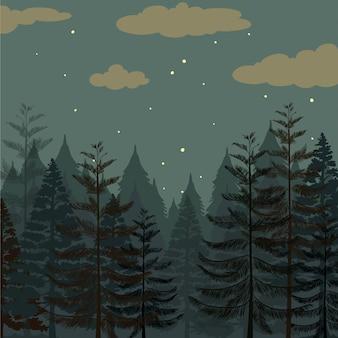 Floresta de pinheiros no período nocturno