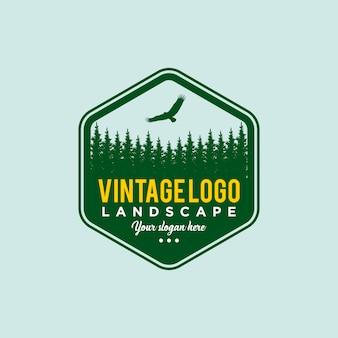 Floresta de pinheiros vintage. modelo de design de viagem
