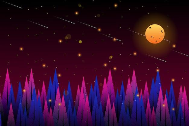 Floresta de torta com fundo do céu da noite estrelada
