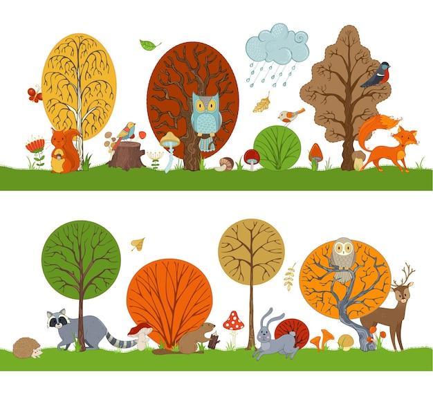 Floresta de vetores com árvores de outono, animais fofos e pássaros