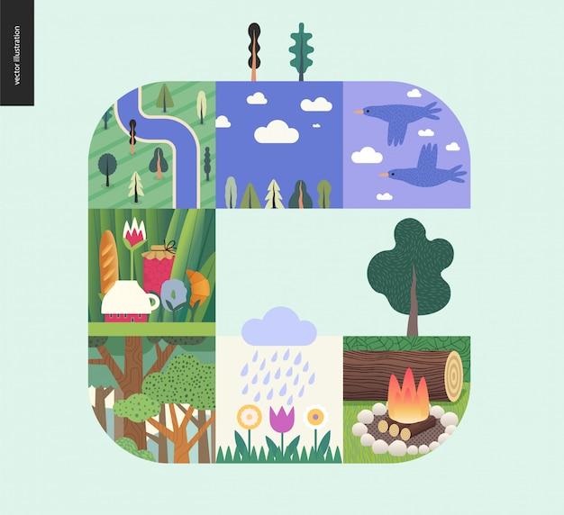 Floresta definir composição sobre um fundo de hortelã