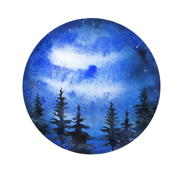 Floresta desenhada à mão em aquarela de céu noturno escuro
