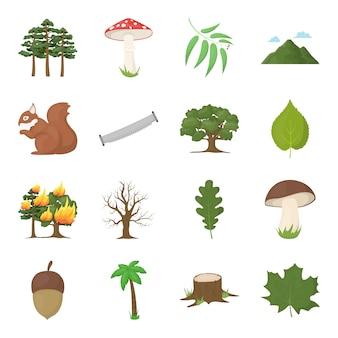 Floresta dos desenhos animados icon set vector. ilustração em vetor de floresta.