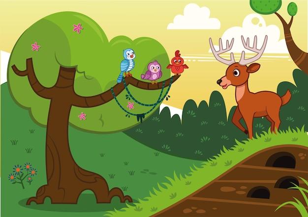 Floresta e ilustração vetorial de animais