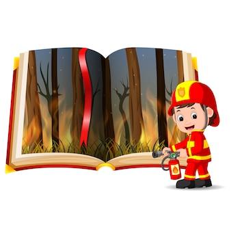 Floresta em chamas no livro e bombeiro