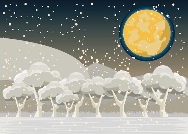 Floresta em ilustração vetorial de invernos
