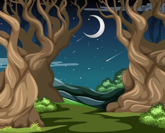 Floresta escura com algumas grandes árvores na cena noturna