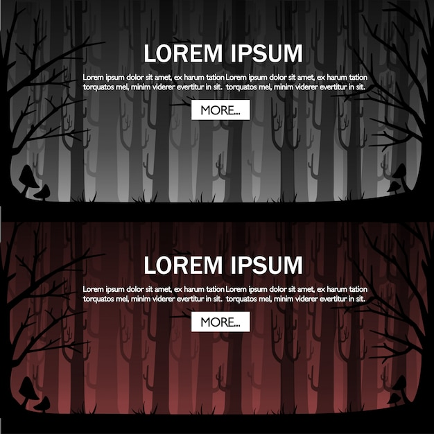 Floresta escura com névoa vermelha. madeiras enevoadas para o conceito de jogo ou site. floresta nebulosa. ilustração com lugar para texto. botão mais. página do site e aplicativo para celular