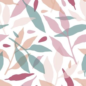 Floresta folhas padrão sem emenda desenhada de mão. textura decorativa de silhuetas de ramos multicoloridos.