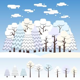 Floresta mista de inverno coberto de neve