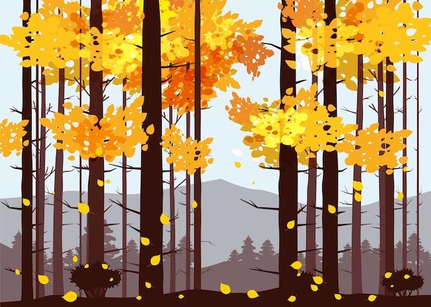 Floresta, montanhas, silhuetas de pinheiros, abetos, panorama, horizonte