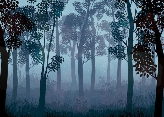 Floresta no fundo da noite