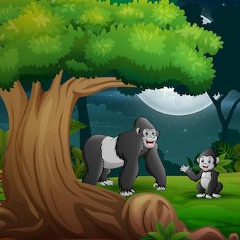 Floresta noturna com uma mãe gorila e seu filhote sob a árvore