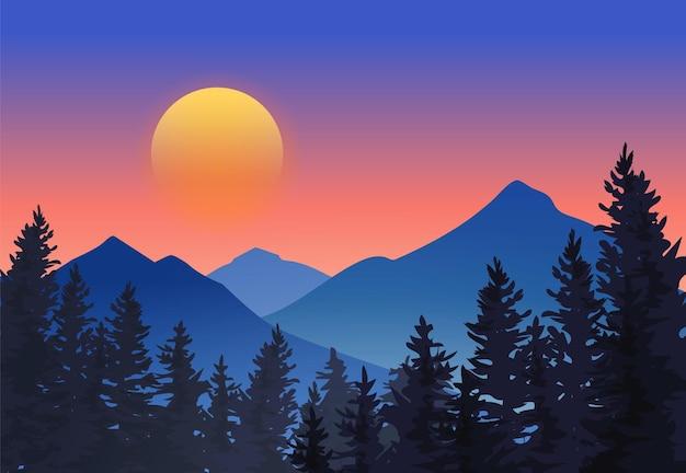 Floresta perto da montanha na ilustração do pôr do sol Vetor Premium