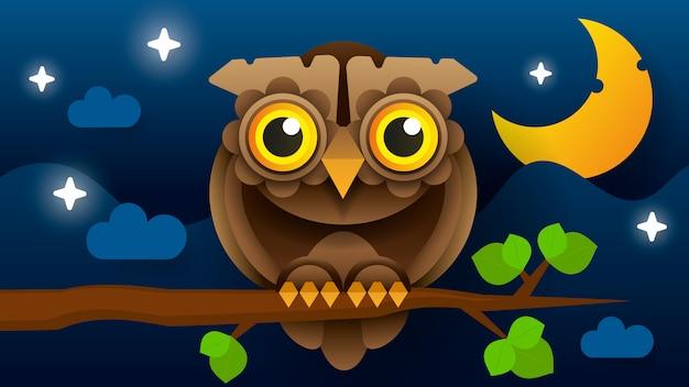 Floresta selvagem emplumada pássaro de rapina noturno sentado no galho.