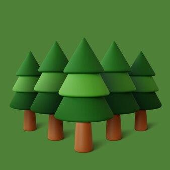 Floresta situada em fundo verde.
