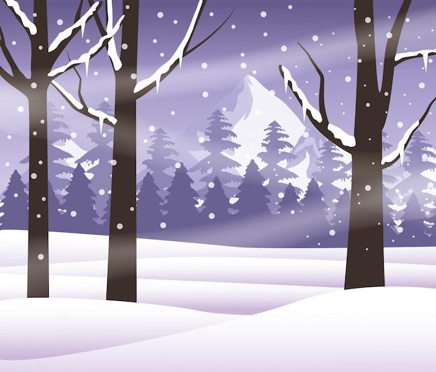 Floresta snowscape cena natureza ícone vector ilustração design