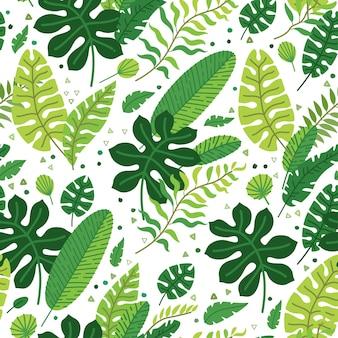 Floresta tropical equatorial de verão com folhas tropicais e folhagens
