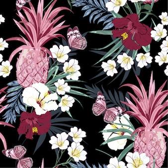 Floresta tropical escura exótica flores coloridas