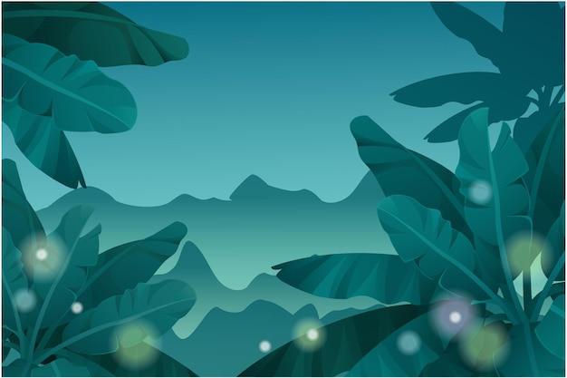 Floresta tropical noturna de fundo de jogo