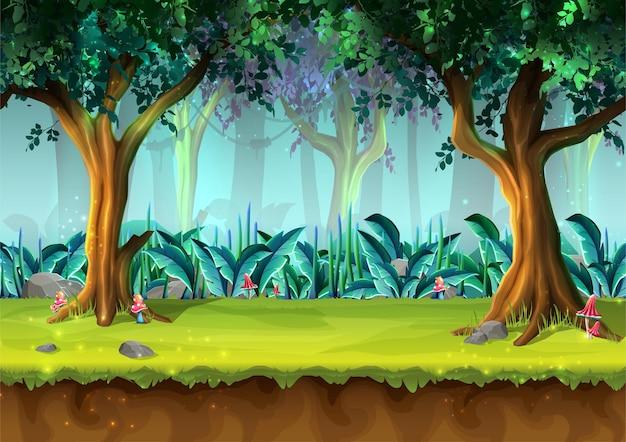 Floresta tropical sem costura misteriosa de estilo desenho animado com ilustração de árvores e cogumelos
