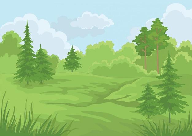 Floresta verde de verão e céu azul