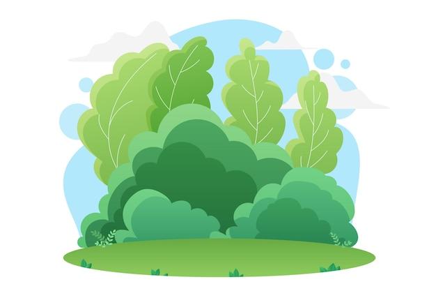 Floresta verde de verão ou parque natural paisagem grama brilhante em um prado ou gramado