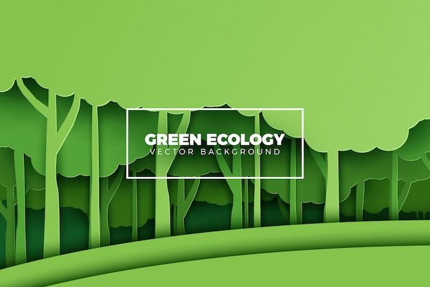 Floresta verde em estilo de papel