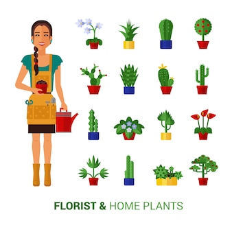 Florista e casa plantas ícones plana