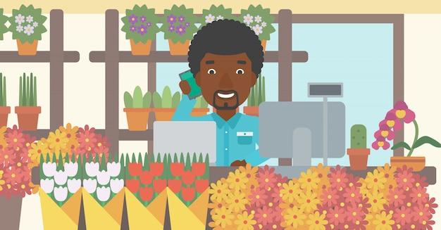 Florista na ilustração do vetor do florista.