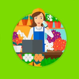 Florista na loja de flores.