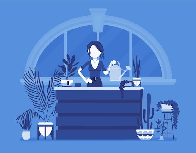 Florista senhora vende plantações em casa ilustração de plantas ornamentais