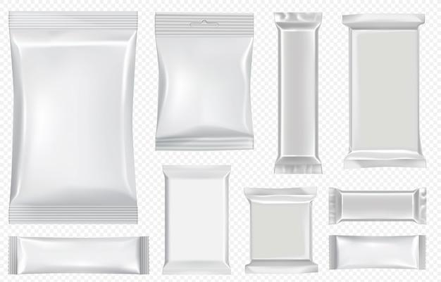 Flow pack e barra de chocolate. modelo de pacote lanche branco para biscoitos, bolacha, bolacha. barra de chocolate em branco pelo pacote de fluxo da folha nas costas transparente. conjunto isolado realista saco sache e invólucro