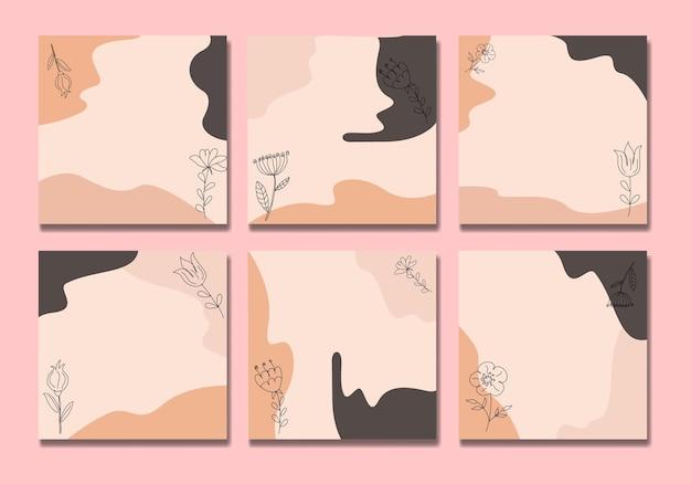 Flower boho social media postar um desenho de linha