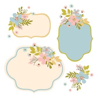 Flower frames floral desenhado à mão