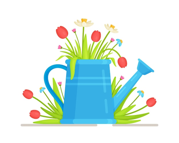Flower jar. bouquet em um regador azul.
