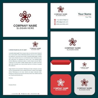 Flower k design e cartão de visita premium vectoline