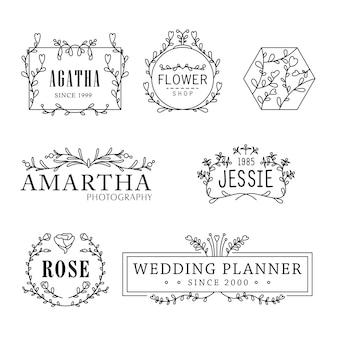Flower logo templates feminine florist concept
