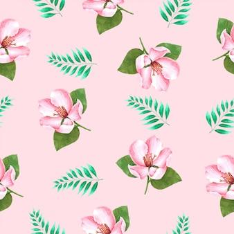 Flower summer seamless pattern em aquarela