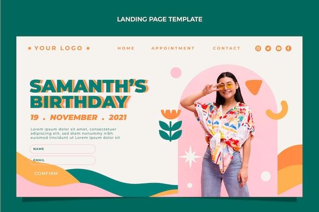 Flt design página inicial de aniversário mínimo