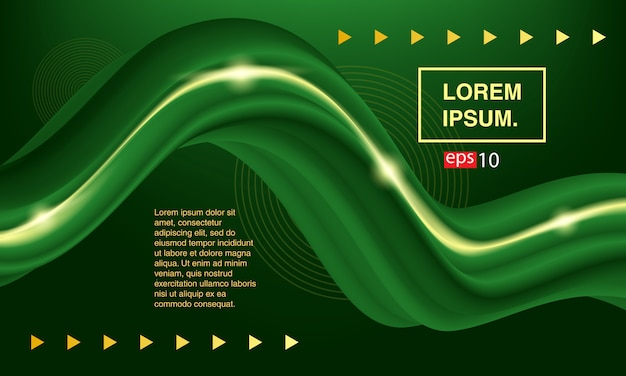 Fluido abstrato. fluido verde de banner. conjunto de capas de cor