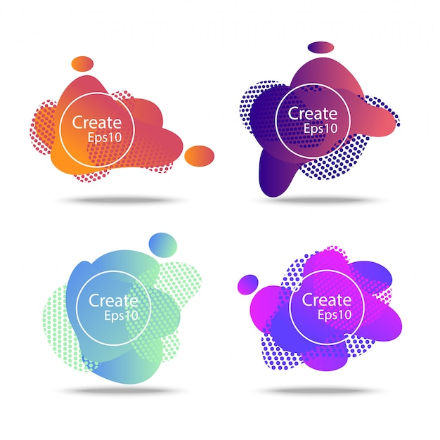 Fluido colorido e onda emblemas fundo