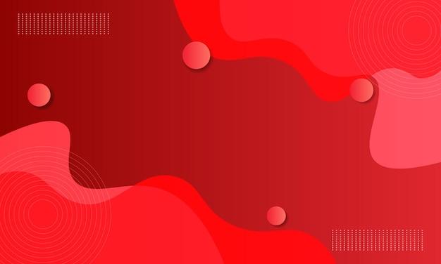Fluido gradiente vermelho abstrato com fundo de forma de onda e círculo