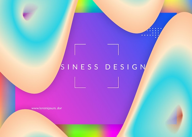 Fluido líquido. malha de gradiente vívida. tela psicodélica, layout de interface. pano de fundo 3d holográfico com mistura na moda moderna. fluido líquido com elementos e formas dinâmicas. página de destino.