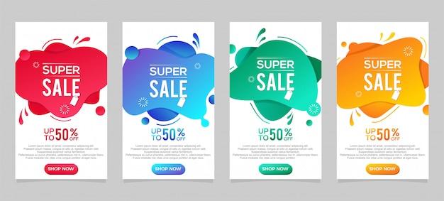 Fluido moderno dinâmico para banners de venda. modelo de banner de venda. oferta especial de super venda e desconto de até 50%