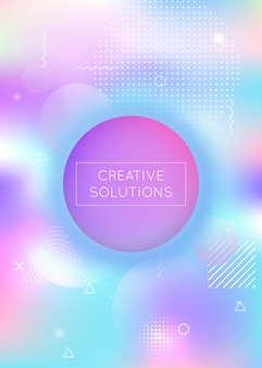 Fluido moderno. elementos claros perolados. banner de tecnologia. apresentação abstrata. fundo gradiente. summer dots. vibrant flyer. forma redonda azul. fluido roxo moderno